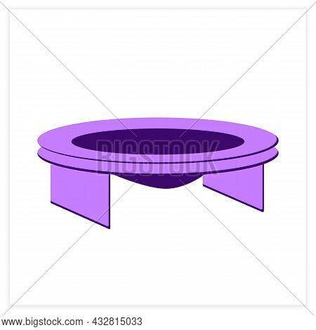Bounce Trampoline Flat Icon. Mini Jumping Setup. Concept Of Children Entertainment, Home Acrobatics
