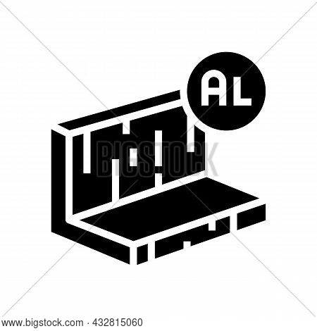 Aluminum Metal Profile Glyph Icon Vector. Aluminum Metal Profile Sign. Isolated Contour Symbol Black