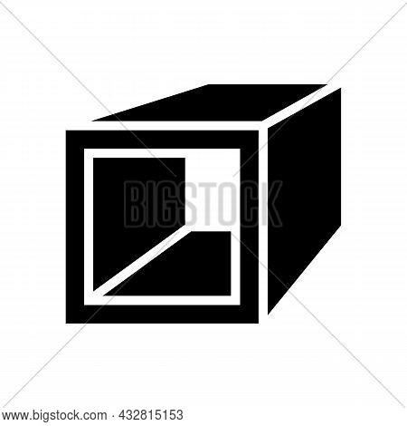 Square Tube Metal Profile Glyph Icon Vector. Square Tube Metal Profile Sign. Isolated Contour Symbol