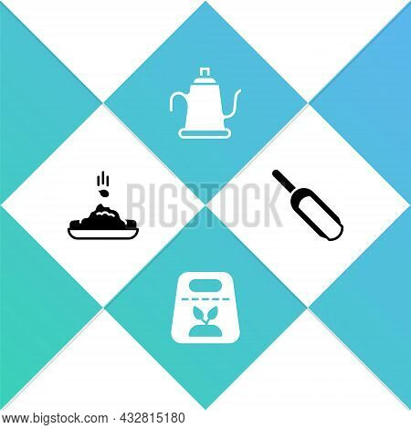 Set Seed, Pack Full Of Seeds Of Plant, Watering Can And Scoop Flour Icon. Vector