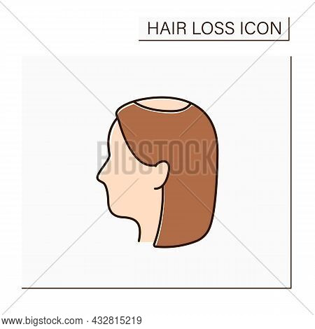 Hair Loss Color Icon. Woman Loses Hair.early Hair Thinning In Vertex. Alopecia Concept. Isolated Vec