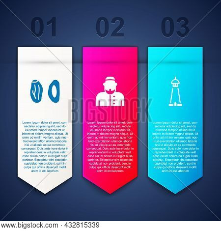 Set Date Fruit, Muslim Man And Mosque Tower Or Minaret. Business Infographic Template. Vector