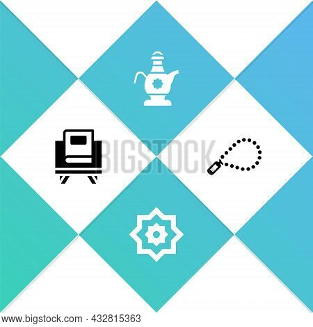 Set Holy Book Of Koran, Octagonal Star, Islamic Teapot And Rosary Beads Religion Icon. Vector