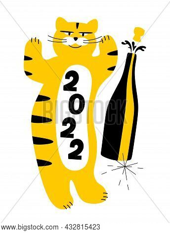 The Tiger Is A Cheerful Symbol Of The Year 2022 With A Bottle Of Champagne And Sparklers. The Concep