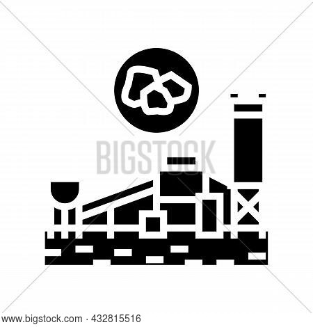 Coal Processing Plant Glyph Icon Vector. Coal Processing Plant Sign. Isolated Contour Symbol Black I