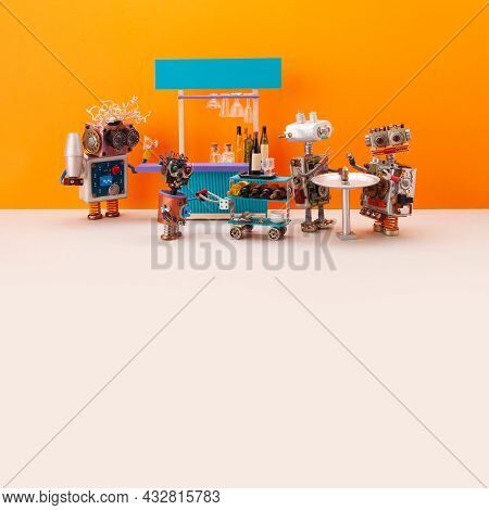 A Robot Bartender With A Shaker In His Hand Wants To Pour A Cocktail. A Cyborg Waiter Carries A Trol
