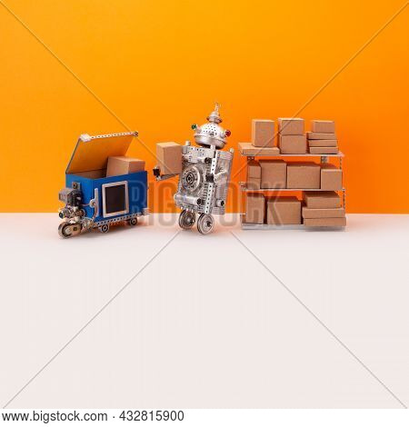 Robotic Storekeeper Sorts Goods And Parcels Into An Autonomous Delivery Robot Courier. Automation Se