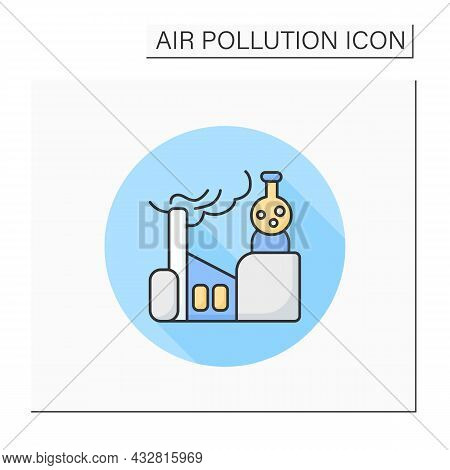 Factory Chemicals Line Icon. Factory Pipe Vaping Toxic Fumes. Smog, Biohazard Emissions. Greenhouse