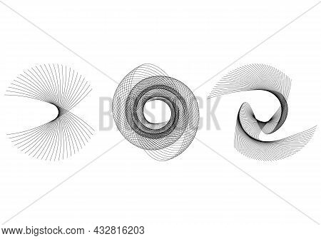 Abstract Spiral Design Elements On White Background. Twist Lines. Vector Illustration Eps 10 For Ele