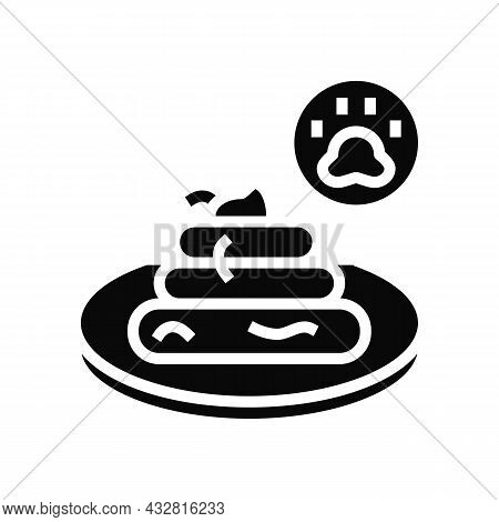 Tapeworm In Poo Glyph Icon Vector. Tapeworm In Poo Sign. Isolated Contour Symbol Black Illustration