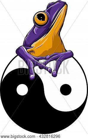 Vector Illustartion Of Ying Yang Symbol Under The Frog