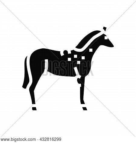 Brucellosis Horse Glyph Icon Vector. Brucellosis Horse Sign. Isolated Contour Symbol Black Illustrat