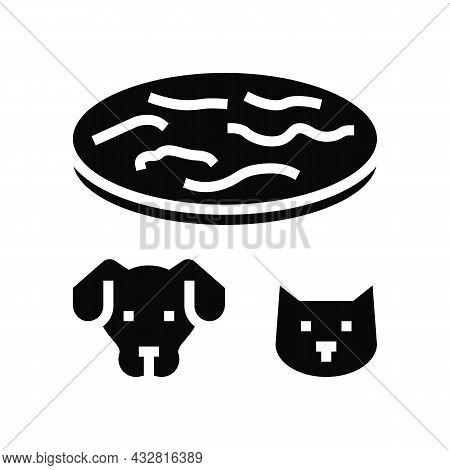 Tapeworm Animal Disease Glyph Icon Vector. Tapeworm Animal Disease Sign. Isolated Contour Symbol Bla