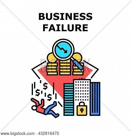 Business Failure Vector Icon Concept. Business Failure Crisis And Bankruptcy Company Financial Econo