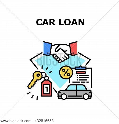 Car Loan Agreement Vector Icon Concept. Car Loan Agreement Signing Salesman And Client, Buying Autom