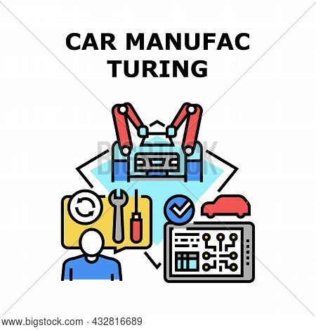 Car Manufacturing Plant Vector Icon Concept. Robotic Arm Assembly Automobile And Production Digital