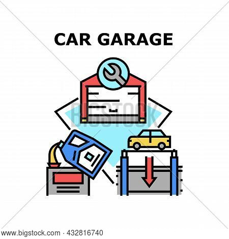 Car Garage Building Vector Icon Concept. Car Garage Building For Storage Automobile, Checking And Fi