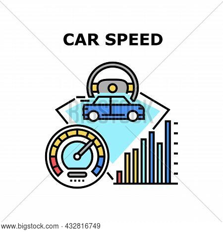 Car Speed Meter Vector Icon Concept. Car Speed Meter Device For Controlling Automobile, Driver Drivi