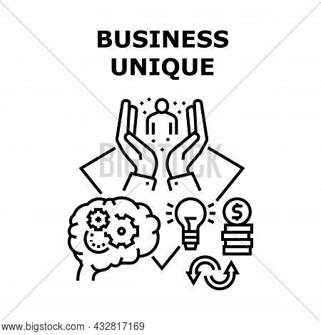 Business Unique Vector Icon Concept. Idea And Developing Process Of Business Unique, Planning Strate