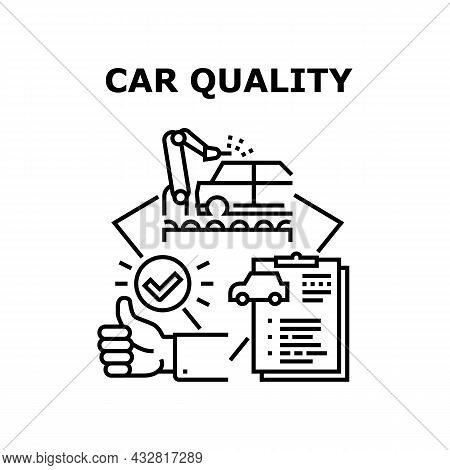 Car Quality Vector Icon Concept. Car Quality Manufacturing Factory And Vehicle Certification, Custom