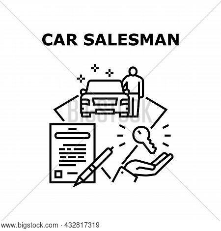 Car Salesman Vector Icon Concept. Car Salesman Showing Automobile For Customer, Signing Sale Agreeme