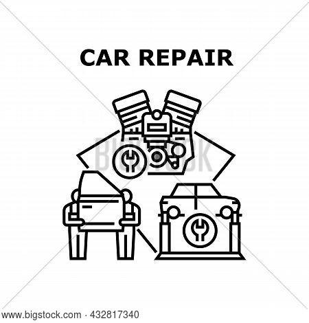Car Repair Service Vector Icon Concept. Car Repair Service Workers Changing Door Body Part, Repairin