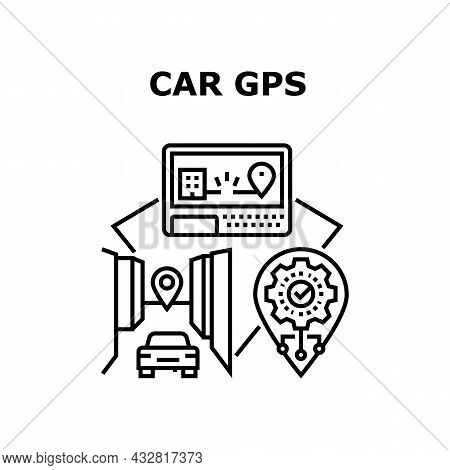 Car Gps Device Vector Icon Concept. Car Gps Device For Showing Location And Searching Way Direction.