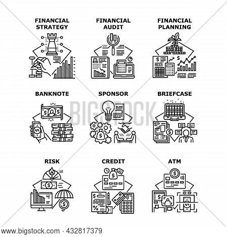 Financial Strategy Set Icons Vector Illustrations. Financial Strategy And Planning, Sponsor And Cred