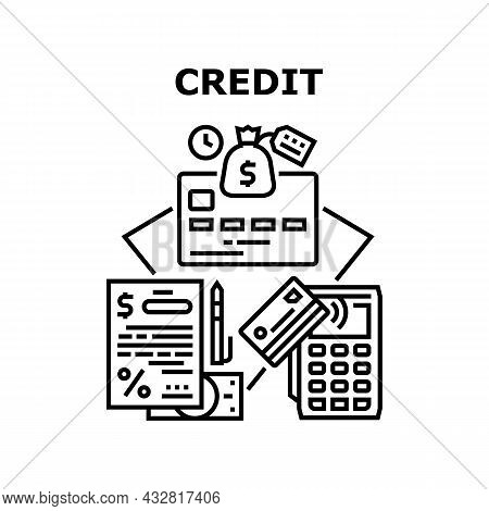 Credit Money Vector Icon Concept. Credit Money Bank Agreement And Plastic Card With Contactless Pay