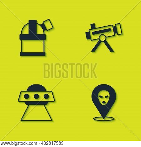 Set Astronomical Observatory, Alien, Ufo Flying Spaceship And Telescope Icon. Vector