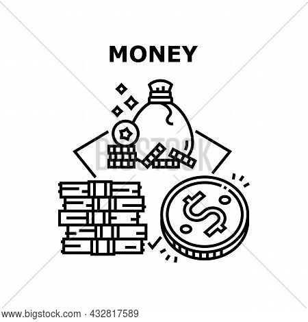Money Finance Vector Icon Concept. Money Finance Earning And Saving, Banknotes Cash Heap And Coins B