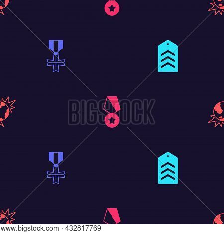 Set Chevron, Military Reward Medal, And Bomb Explosive Planet Earth On Seamless Pattern. Vector