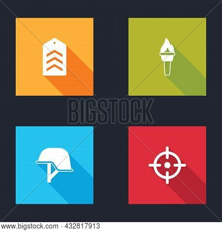 Set Chevron, Torch Flame, Military Helmet And Target Sport Icon. Vector