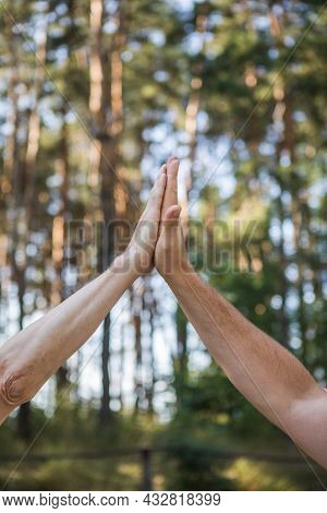 High-five Gesture And Tenderness Of Friendship.concept For Success, Teamwork, Congratulating, Celebr
