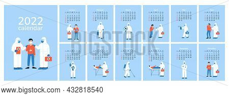 Vertical Calendar 2022. Doctors. Happy New Year. Wall Desk Table Calendar With Patients, Medical Sta