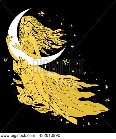 Graphic Silhouette Of A Art Deco Woman. Moon And Stars Queen. Flat Style Illustration. Fashion Luxur