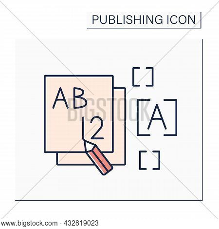 Front Color Icon. Front Section Of Books, Magazines. Title Page. Publishing Concept. Isolated Vector