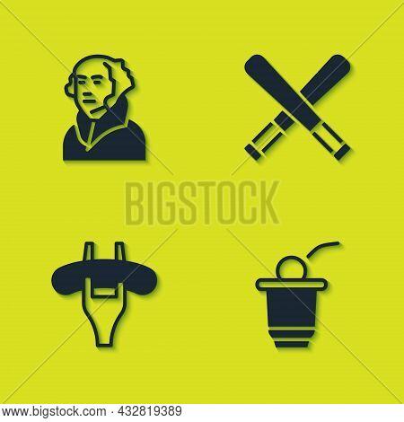 Set George Washington, Beer Pong Game, Sausage The Fork And Crossed Baseball Bat Icon. Vector