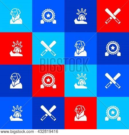 Set George Washington, Medal With Star, Statue Of Liberty And Crossed Baseball Bat Icon. Vector