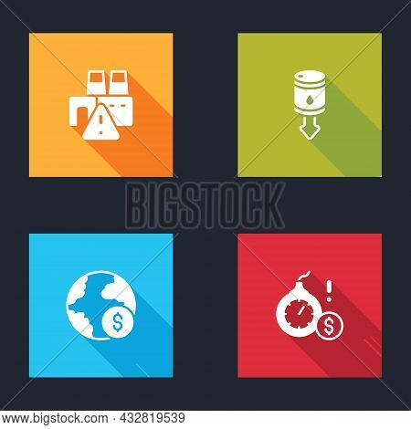 Set Shutdown Of Factory, Drop In Crude Oil Price, Global Economic Crisis And Money Bomb Dollar Icon.