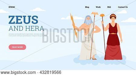 Website Banner Template With Greek Mythology Personages Of Zeus God Of Thunder And Lighting Bolt Ray
