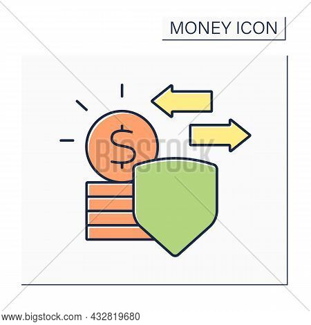 Legal Tender Color Icon. Coins Or Banknotes Which Offered In Payment Of A Debt.money Concept. Isolat