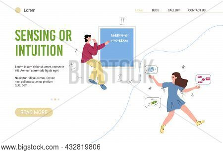 Website Of Sensing Or Intuition Thinking Mbti Type Flat Vector Illustration.