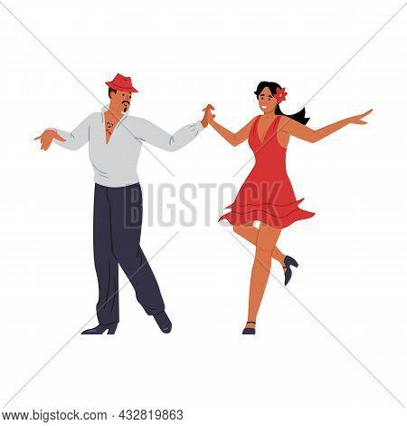 People Dancing Salsa Or Bachata Dance Flat Vector Illustration Isolated.