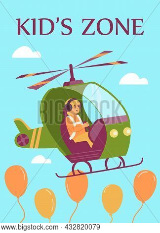 Kids Zone Banner With Child Flying Helicopter Flat Vector Illustration.