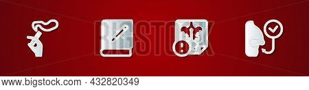 Set Hand With Smoking Cigarette, Book Stop, Disease Lungs And Healthy Breathing Icon. Vector
