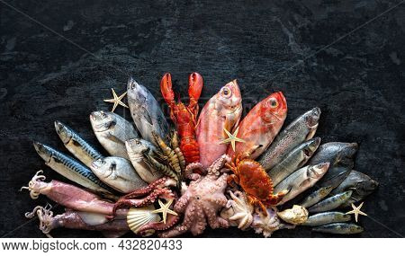 Assortment of fresh fish and seafood on dark stone background. Top view