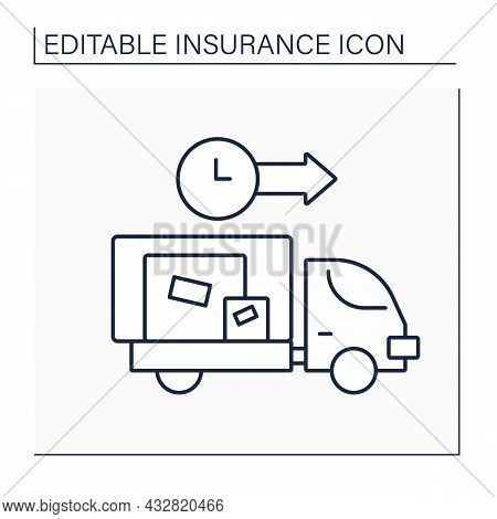 Goods In Transit Line Icon. Covers Goods Of Business Against Loss Or Damage While In Transit. Insura
