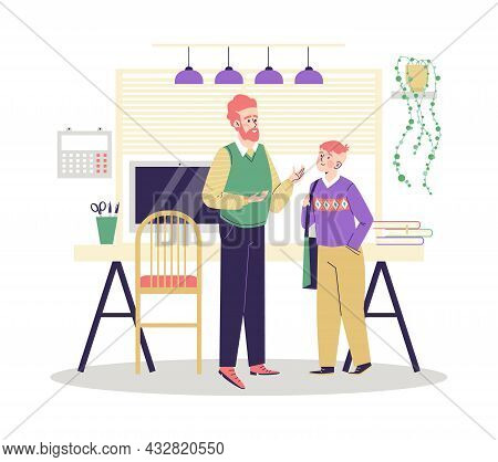 Adult Parent Or Teacher And Teenager Talking Flat Vector Illustration Isolated.