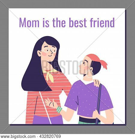 Banner With Mom And Child In Good Friendly Relations, Flat Vector Illustration.